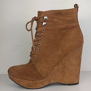 Michael kors suede heeled lace-up boots leather